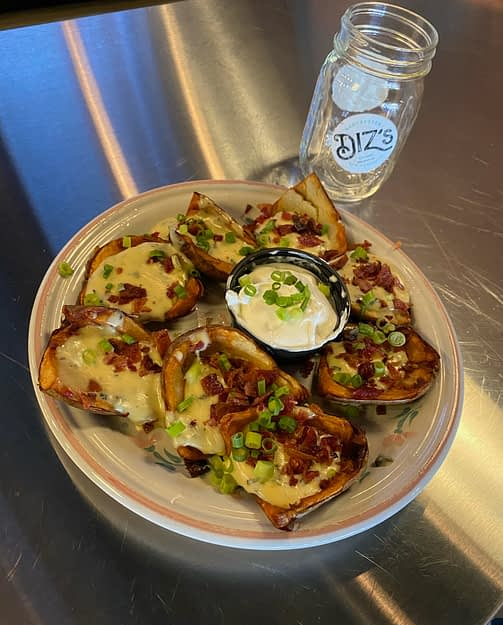 """I'm Baked"" Potato Skins at Dizs Cafe"